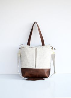 Natural linen and leather diaper bag tote bag nappy bag *** This bag is made to order - please allow 7 days for your bag to be hand made just for