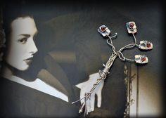 cherry tree sterling silver brooch/ garnet by JewelryByFlorita