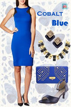 A solid blue dress in a dreamy cobalt shade works wonders when you ccesorizie it with a metallic blue clutch and a pair of studs. With a pair of pointy smart heels to match the subtle black lace detailing on the sleeves and a bling gold and black necklace to go with it – you're going to be unstoppable to say the least!  #LookBook #BudgetLook #Blue #CobaltBlue #BudgetPartyLook https://www.estrolo.com/inspirationapp/cobalt-blue-2/ Cobalt Blue