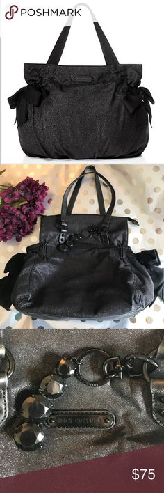 """Juicy Couture """"Stardust"""" Shoulder Bag Large black bag with purple and black sparkle/shimmer throughout. From the Juicy Couture Stardust Collection. Unique and gorgeous! Preloved but in great condition, some wear on the side bows and on the jeweled decoration, which can be removed. Juicy Couture Bags Shoulder Bags"""