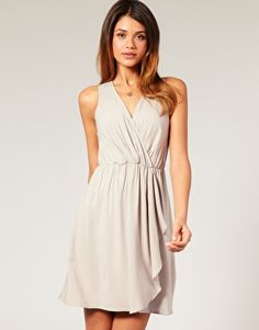 ASOS Wrap Front Dress with Drape -- On Sale for $26.96 (Also comes in Orange)