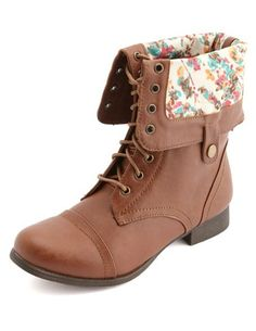 Floral-Lined Fold-Over Combat Boots: Charlotte Russe ♡ Follow me for more pins like this @graceamack !!