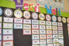Erica Bohrers First Grade: Bright Polka Dot Classroom Word Wall classroom-decor Classroom Word Wall, Polka Dot Classroom, First Grade Classroom, Classroom Setting, Classroom Design, School Classroom, Future Classroom, Classroom Organisation, Classroom Displays