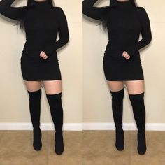 All Black Shoes, Instagram Queen, Long Sleeve Turtleneck, Seattle Washington, Winter Fashion Outfits, Thigh High Boots, Buy Dress, Thigh Highs, Dark Side