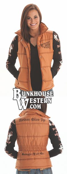 Cowgirl Tuff Company Gold Puffy Vest, Copper Colored Outerwear, Never Give Up, Fall Fashion, Rodeo, Barrel Racing, NBHA, WPRA, $84.99, http://www.bunkhousewestern.com/F231_p/f00231.htm
