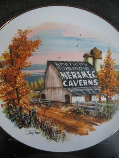 """Limited Edition Plate Art by Ray Day """"Meramec Caverns Barn"""" from Blue River Mill MIB With Certificate by LikeNewShop on Etsy Ray Day, Plate Art, Certificate, Decorative Plates, Porcelain, Barn, China, River, Unique Jewelry"""