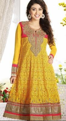Exquisite Yellow Chudidar Kameez