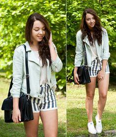 Choies Striped Shorts, Converse Shoes