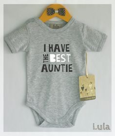I have the best auntie baby bodysuit. Best aunt baby clothes. Modern baby clothes  Gift giving? Please contact us and we will send you customized card with the same character as the one on the ordered romper FREE of charge. --------------------------------------------------------------------------------------------- Fabric content: 100% cotton Professional grade super soft transfers which are perfect for the little ones…
