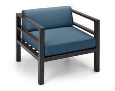 Cube Chair: espresso frame with sapphire blue fabric