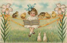 Vintage easter greetings card