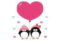 Adesivo murale - Coppia di pinguini con cuori