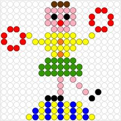 Circus acrobat perler bead pattern Circus Clown, Circus Theme, Circus Acrobat, Pixel Art, Diy Perler Beads, Carnival Themes, Bobble Stitch, Spring Theme, Busy Book