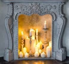 Image result for candles in fireplace