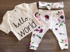 Organic Baby Girl, Onesie®, One Piece, Bodysuit, Leggings, Pants, Headband, Top Knot, Floral, Flower, Modern, Boho, Set, Bundle