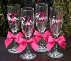 2 Monogrammed Bride and Bridesmaids Champagne Flutes, Personalized Wedding Glasses. $20.00, via Etsy.