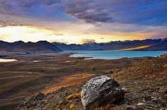 Blick vom Mount John auf den Lake Tekapo, Southern Alps, Neuseeland
