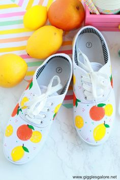 Use DecoArt Stylin paint to create your own DIY Citrus Painted Canvas Shoes and lace up your colorful new kicks for a fun summer look! #diy #decoart #gigglesgalore #gigglesgalorecreates #diyprojects #crafts Shoe Crafts, Fun Crafts, Crafts For Kids, Mickey Mouse, Painted Canvas Shoes, Painted Converse, Tennis Shoes Outfit, Vans Shoes, Shoes Sneakers