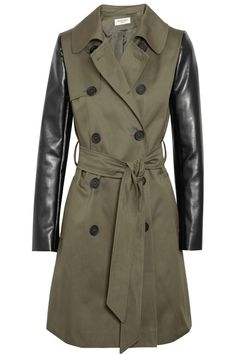 alternative to Burberry: Faux leather-sleeved twill trench coat by Helene Berman.