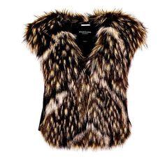 MARCIANO FAUX FUR WAISTCOAT (1.945 NOK) ❤ liked on Polyvore featuring outerwear, vests, faux fur waistcoat, brown vest, brown faux fur vests, fake fur vest and waistcoat vest