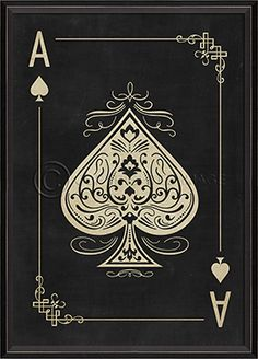 91414 BC Ace of Spades White on Black - White on Black Playing Card Series by the Design Loft at Spicher&Co.