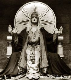 Mia May German Silent Film - Die Herrin Der Welt (The mistress of the world) 1919 She is sitting on a throne with the symbol for Shamash (a native Mesopotamian deity and the Sun god in the Akkadian, Assyrian, Babylonian, and Canaanite pantheons) Photo Print, Mystique, Fortune Teller, Silent Film, Coven, Vintage Photography, Historical Photos, Dark Art, Witchcraft