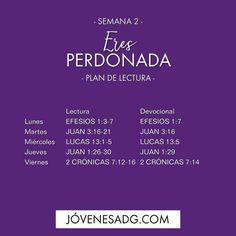 """Estudio Bíblico """"Eres Perdonada"""" Este es el plan de lectura para la semana 2 . #Eresperdonada #Perdon #JovenesADG #Devocionalparajovenes #ComunidadADG #Estudiobiblicoenlinea #Biblia #Dios #jovenesADG"""