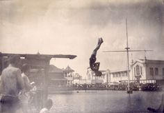 Frank Keogh of Chicago Athletic Association in fancy diving competition (placed third) at the 1904 Olympics.   collections.mohistory.org