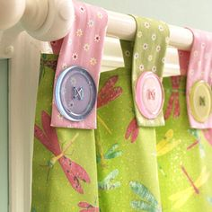 Pastels for a little girl's room, primary shades for the boy's - cute button tabs