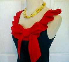 Items similar to Embellished Tank Top in Navy with Red Box Pleat Ruffle and Bow on Etsy Diy Clothing, Sewing Clothes, Blouse Patterns, Blouse Designs, Diy Fashion, Fashion Outfits, Shirt Refashion, Dressmaking, African Fashion