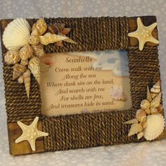 Seashell Picture Frame Seagrass Rattan With Seashell Poem.