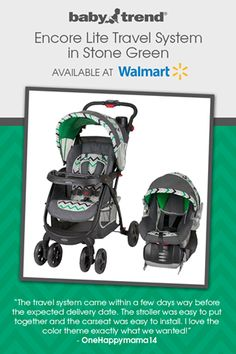 Baby Trend Encore Lite Travel System in Stone Green - Walmart - Green Chevron Stripe Stroller and Car Seat