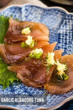 Albacore tuna sashimi brushed with garlic soy sauce Appetizers For A Crowd, Seafood Appetizers, Seafood Recipes, Seafood Dishes, Sushi Recipes, Asian Recipes, Cooking Recipes, Asian Foods, Cooking Time