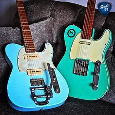 #Telecaster Twins from @vintage.tone A @tmgguitarco on the left and a @sevenguitarco on the right. Which would you choose? #TeleTuesday #Studio33Guitar