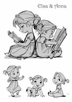elsa y anna Kid Character, Character Drawing, Character Sketches, Disney Style, Disney Art, Walt Disney, Disney Sketches, Disney Drawings, Drawing Sketches