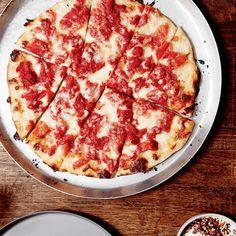 """""""Trenton Tomato Pie"""" Pizza-can whole peeled tomato, mozzarella cheese"""
