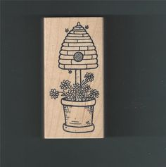 Beehive Topiary Potted Plant Flowers Gardening Bees Rubber Stamp Wood Mounted #GreatImpressions #BeesBeeHiveGardeningFlowers