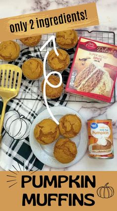 These yummy Pumpkin Muffins will leave you wanting more! Not only are they super yummy but you just can't beat how easy they are to make! With only 2 ingredients, how can you go wrong?! They are perfect for an easy breakfast on school days. My son loves to eat them after school. #pumpkin #easyrecipe #pumpkinspice #muffins Baked Pumpkin, Pumpkin Recipes, 2 Ingredient Pumpkin Muffins, Spice Cake Mix And Pumpkin, Delicious Desserts, Yummy Treats, Dessert Recipes, Yummy Food, Doughnut Cake