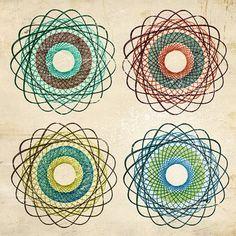 Abstract Art DONUTS Print via Etsy artist shop MonsterGallery - Textiles, Textile Patterns, Quilt Patterns, Spirograph Art, Auction Projects, Magic Circle, Zen Art, Art Classroom, Repeating Patterns