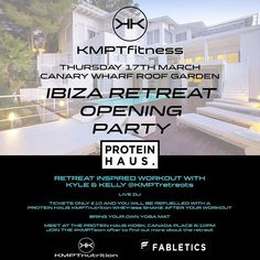 Mr @kmptfitness will be down at @proteinhausuk today between 12-2pm so come get your tickets for PROTEIN HAUS & KMPT FITNESS PRESENTS....... IBIZA FITNESS RETREAT OPENING PARTY  JOIN US FOR THE BIGGEST WARM UP TO SUMMER!! Canary Wharf Botanical roof garden sponsored by @fabletics_uk #fableticsuk  Thursday 17th March  MEET AT PROTEIN HAUS Canada Place at 6:10pm!  KMPT RETREAT INSPIRED WORKOUTS YOGA FLOW LIVE DJ @s3suave  POST WORKOUT FROZEN SHAKES FROM @proteinhausuk and @kmptnutrition  BRING…