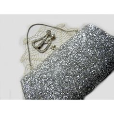 TheSandlapperShop (£16) ❤ liked on Polyvore featuring evening bags, vintage evening bags, special occasion clutches, silver evening purse and vintage handbags