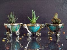 ceramic raku planter for succulents  small par FedericoBecchettiArt
