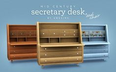 Most Viewed - Awesims Mid Century Secretary Desk Set The Sims, Sims 4 Teen, Sims Four, Sims 4 Mm, Sims House Design, Sims Building, Maxis, Sims4 Clothes, Sims 4 Dresses