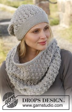 Autumn Mist / DROPS 150-42 - Knitted DROPS neck warmer and hat with lace pattern in Lima.