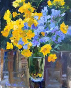 Oil painting on Canvas, Subject: Flowers and plants, Impressionistic style, One of a kind artwork, Signed on the front, Size: 38 x 50 x 2 cm (unframed)  /  38 x 50 cm (actual image size), Materials: Oil on canvas Oil Painting Flowers, Yellow Painting, Oil Painting On Canvas, Painting & Drawing, Yellow Art, How To Make Light, Yellow Flowers, Lovers Art, Original Paintings
