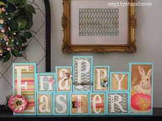 Mod Podge Easter blocks