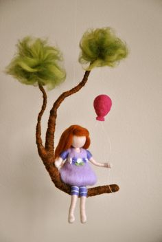 Girls Room Decoration Waldorf inspired needle felted mobile :