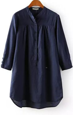 Navy Stand Collar Long Sleeve Buttons Blouse - Sheinside.com