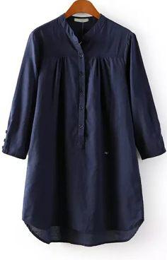 Navy Stand Collar Long Sleeve Buttons Blouse - Sheinside.com