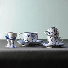 These are some samples we are working on using our hand mixed and blue and white clay. The set includes a teacup and saucer, espresso cup and saucer, also egg cups and an unseen cereal bowl! Every piece has a unique marbled pattern. Let us know if you think we should stock these! #nom #nomliving #blue #blueandwhite #blueandwhiteceramics #marbled #marbling #handmade #tableware #espresso #coffee #tea #cup #breakfast #egg #unique #pottery #ceramic